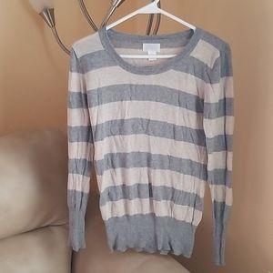 Grey and cream striped cotton sweater